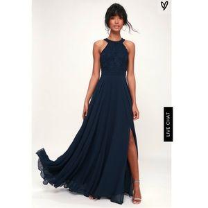 NWOT Lulu's maxi navy gown size medium